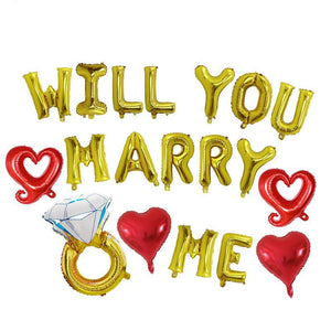 Will You Marry Me balloon banner - Gold