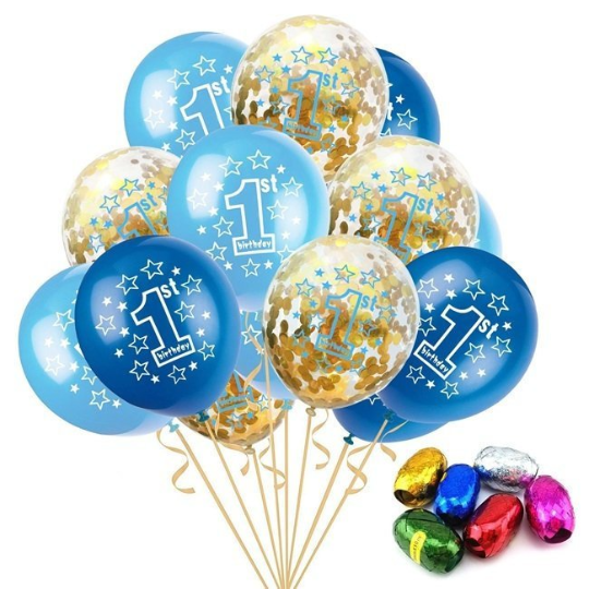 Blue & Gold Confetti 1st Birthday Balloons