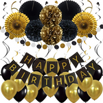 20 Piece Black & Gold Birthday Party Pack