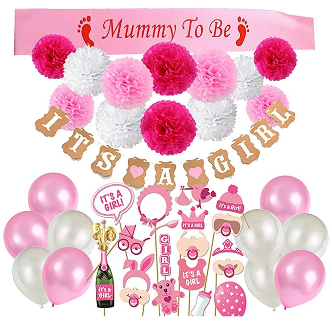 "Pink ""It's a Girl"" Baby Shower Party Pack"