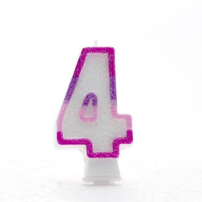 No. 4 Glitter Birthday Candle - Rainbow, Blue or Pink