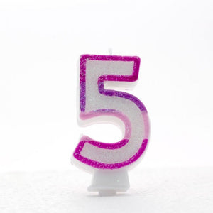 No. 5 Glitter Birthday Candle - Rainbow, Pink or Blue