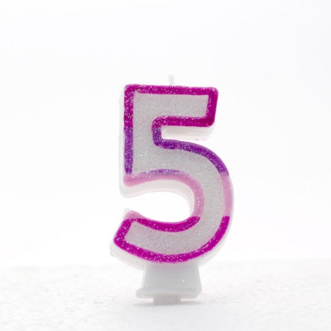 No. 5 Glitter Birthday Candle -  Pink, Rainbow or Blue