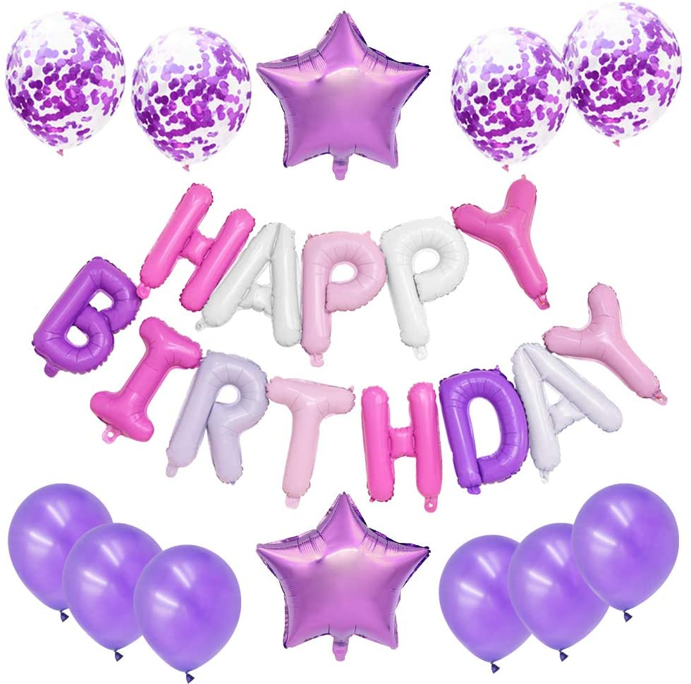 Pink & Purple Happy Birthday party pack