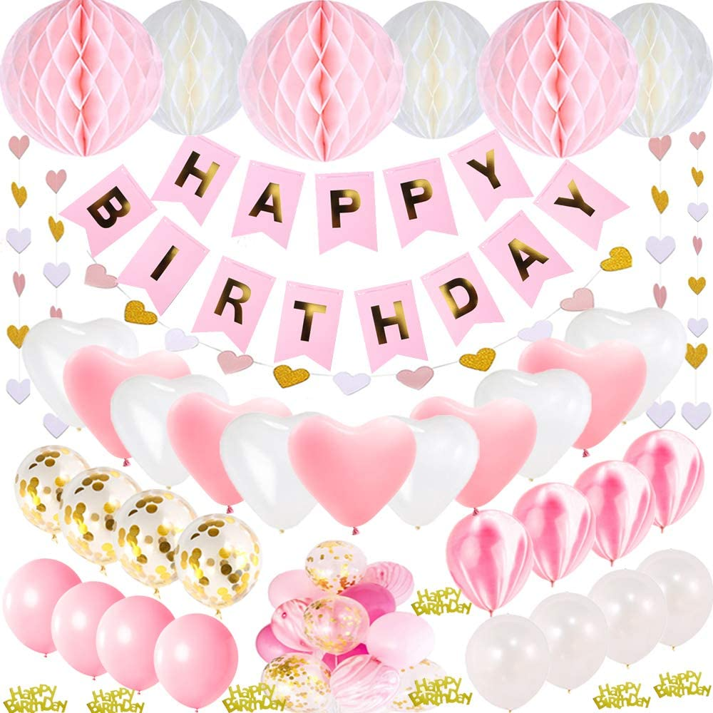 49 Piece Soft Pink Hearts Birthday Party Pack