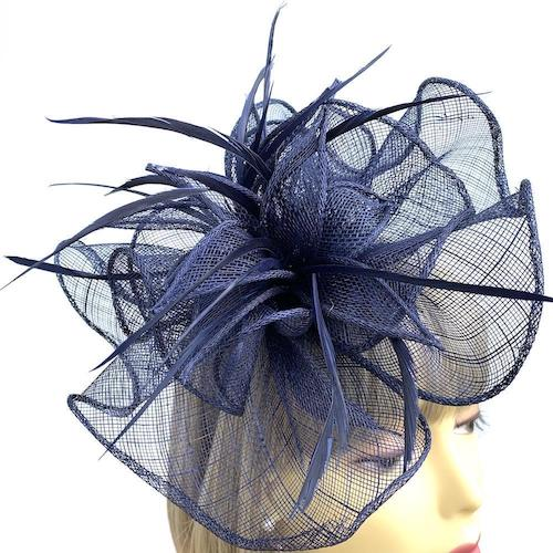 navy hair fascinator