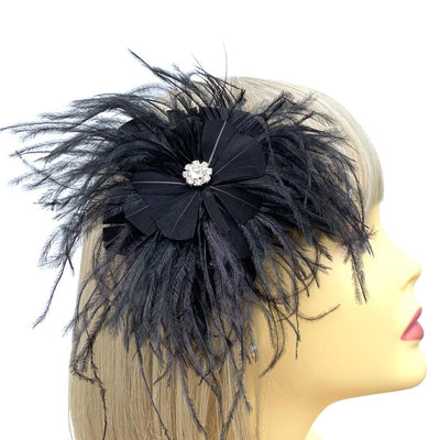 Black Feather Flower Hair Clip Fascinator with Veil-Fascinators Direct