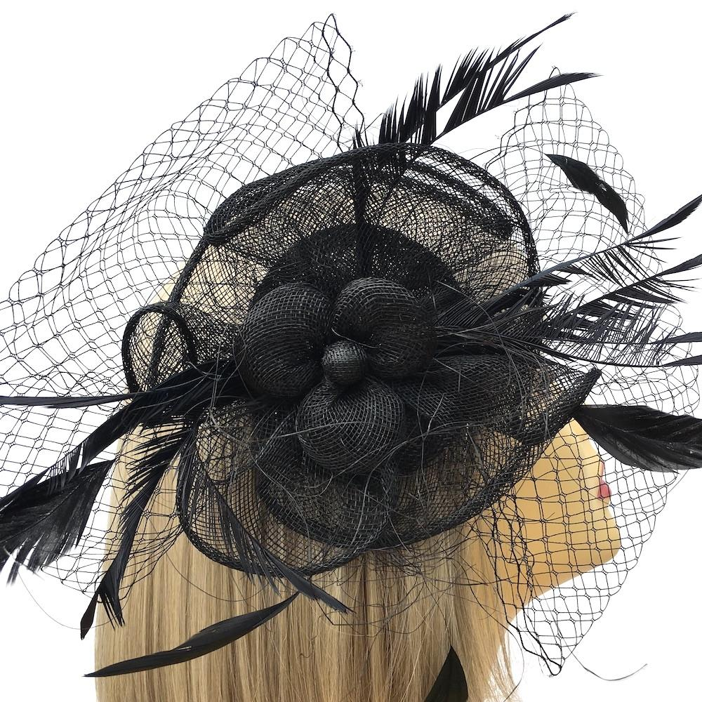 Black Flower Fascinator on Comb with French Netting & Feathers-Fascinators Direct