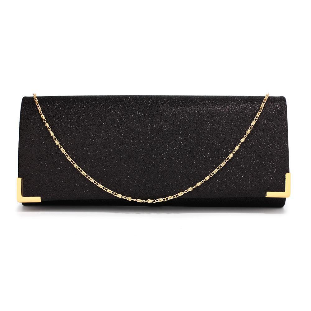 Black Glitter Clutch Bag-Fascinators Direct