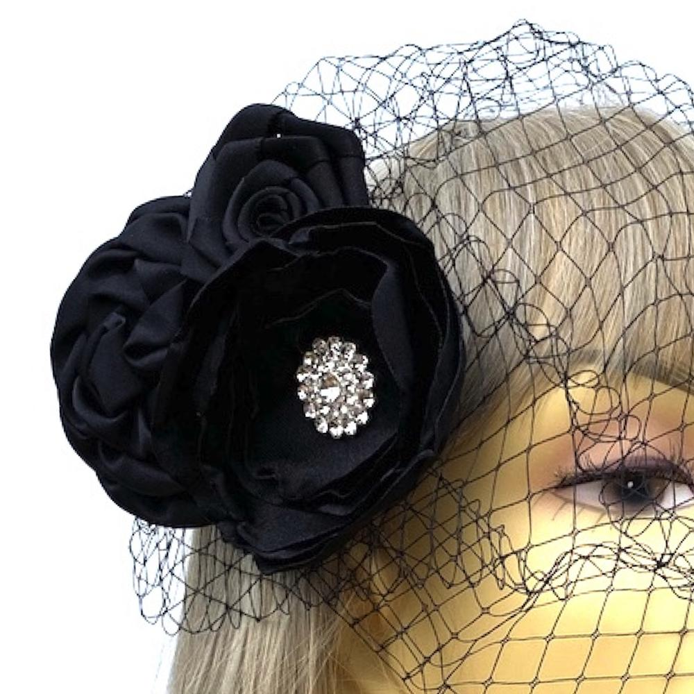 Black Hair Flower with Diamante & Black Birdcage Veil-Fascinators Direct