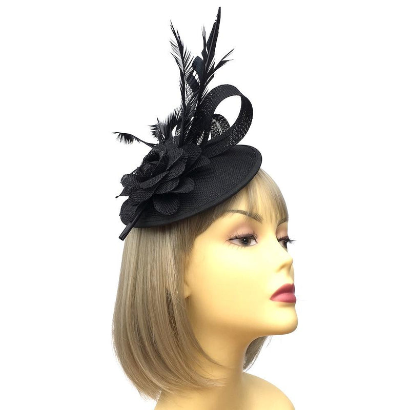 Black Sinamay Dome Disc Fascinator-Fascinators Direct