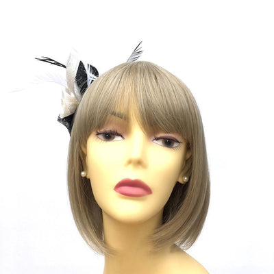 Coiled Sinamay Flowers Black & Cream Fascinator Clip-Fascinators Direct
