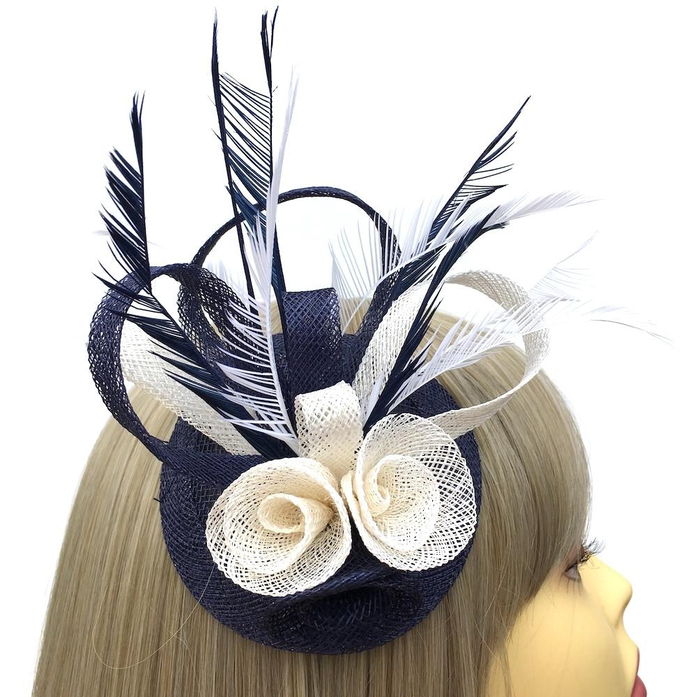 Coiled Sinamay Flowers Navy & Cream Fascinator Clip-Fascinators Direct