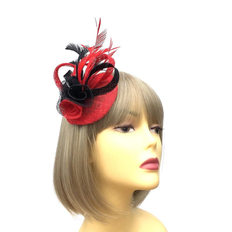 Coiled Sinamay Flowers Red & Black Fascinator Clip-Fascinators Direct