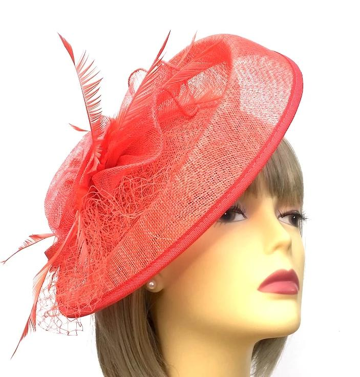 Coral Fascinator Hat with Feathers and Scalloped Sinamay Detailing-Fascinators Direct