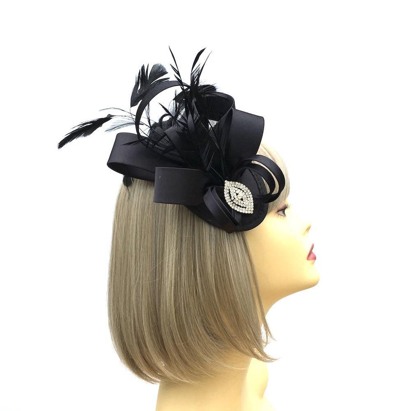 Elegant Black Satin Fascinator with Crystal Embellishment-Fascinators Direct