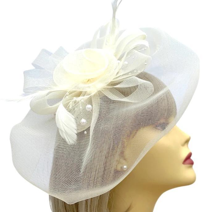 Large Ivory Fascinator with Floaty Crinoline & Feathers-Fascinators Direct