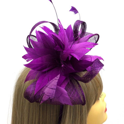 Looped Mesh & Feather Flower Fascinator - Purple-Fascinators Direct