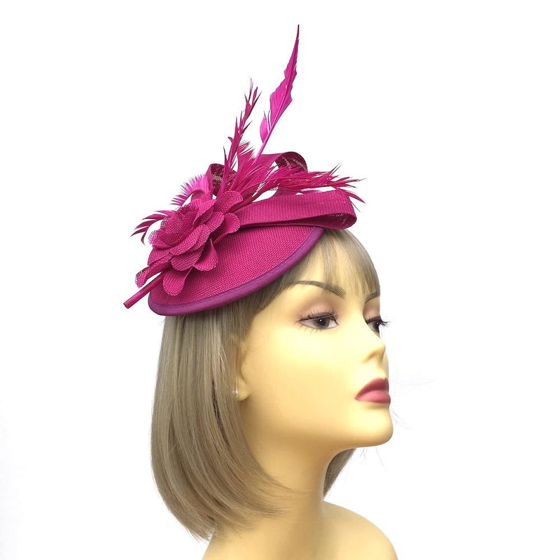 Magenta Sinamay Dome Disc Fascinator-Fascinators Direct