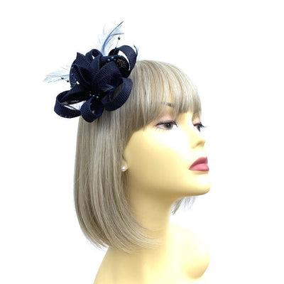 Navy Blue Small Fascinator with Feathers & Beads-Fascinators Direct