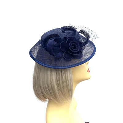 Navy Sinamay Mesh Hatinator-Fascinators Direct