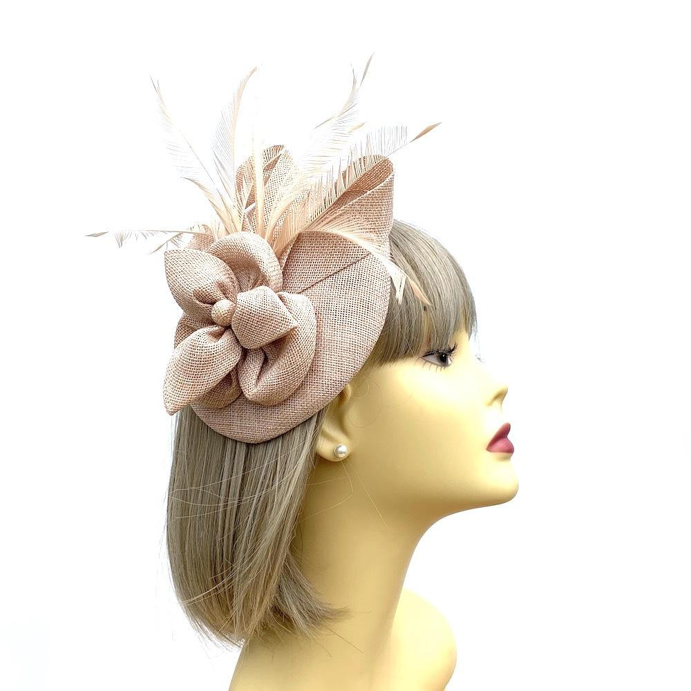 Nude Pillbox Fascinator with Pearl Flower & Feathers-Fascinators Direct