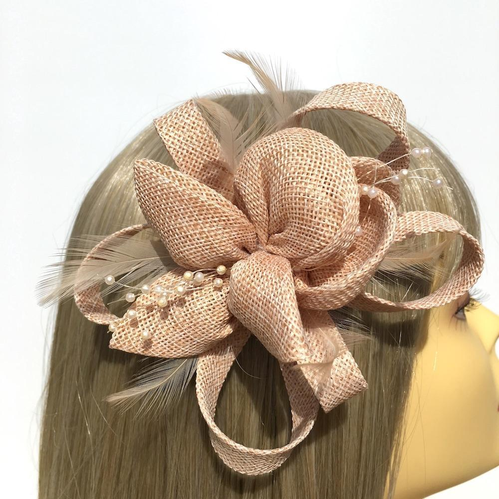 Nude Small Fascinator with Feathers & Beads-Fascinators Direct