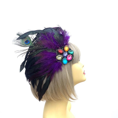 Purple & Black 1920s Flapper with Peacock Feathers & Rhinestone Gems-Fascinators Direct
