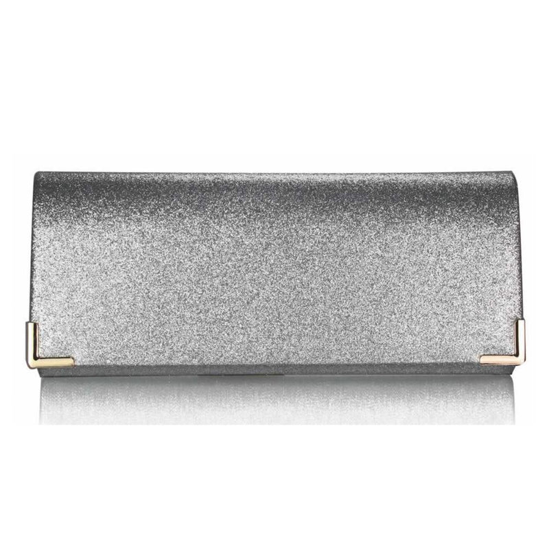 Silver Glitter Clutch Bag-Fascinators Direct