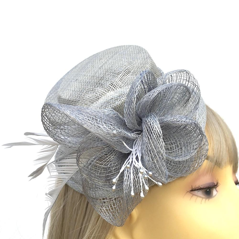 Silver Grey Sinamay Mini Hat Fascinator-Fascinators Direct