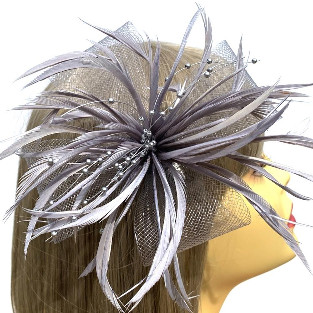 Silver Hair Fascinator with Crin Loops, Beads & Feathers-Fascinators Direct