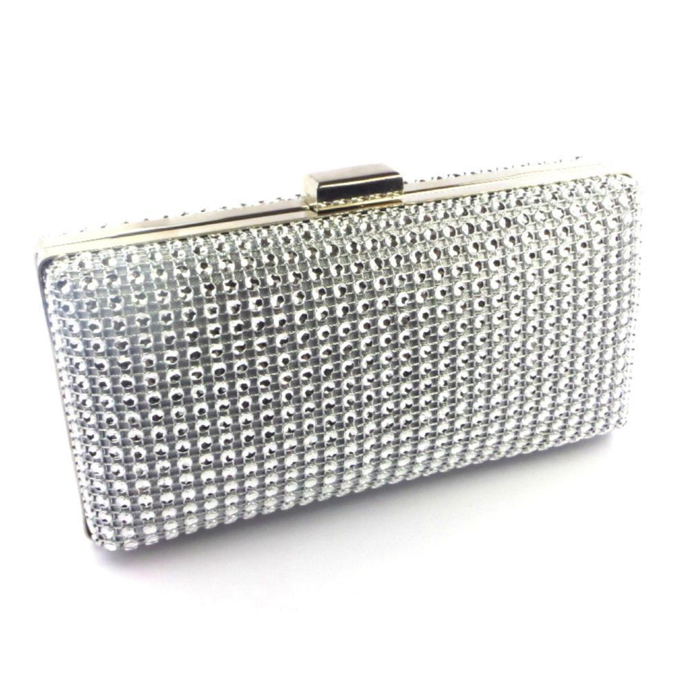 Sparkly Silver Clutch Bag-Fascinators Direct