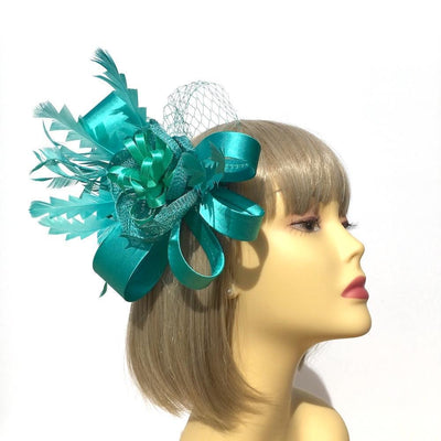 Turquoise Fascinator with Flower, Satin Loops & Feathers-Fascinators Direct