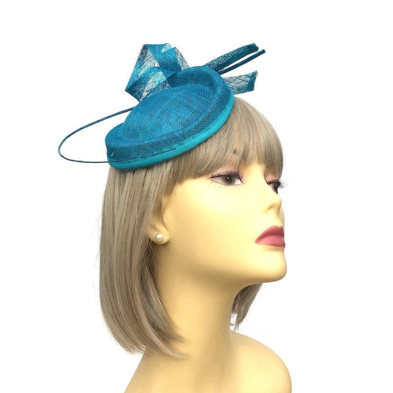 Turquoise Fascinator with Ostrich Quill & Loops-Fascinators Direct