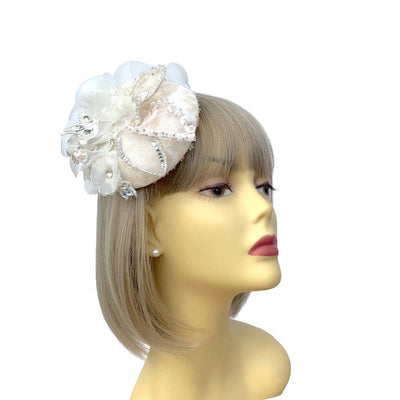 White & Blush Bridal Fascinator Flower Headpiece-Fascinators Direct