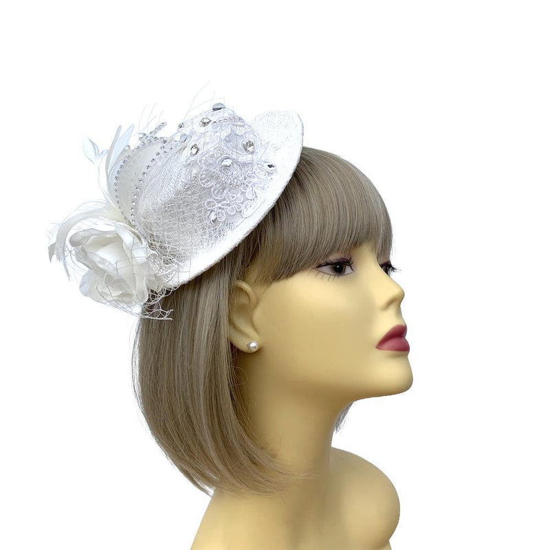 White Lace Bridal Fascinator Mini Hat with Diamante Flower-Fascinators Direct