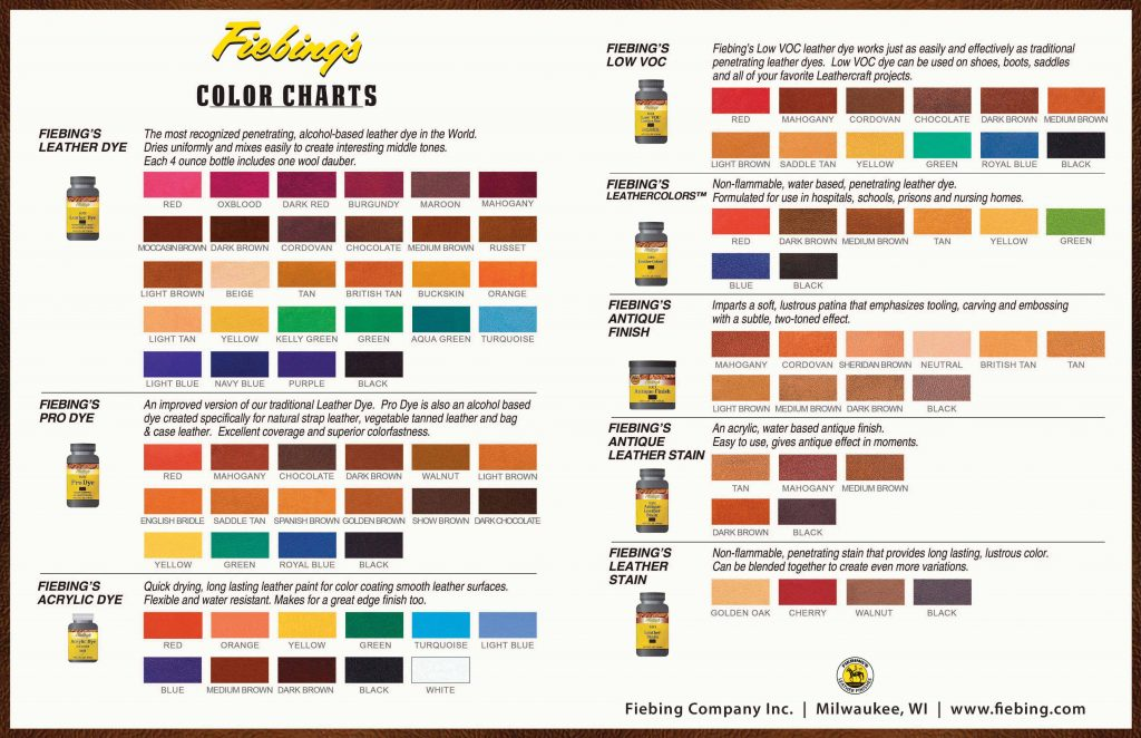 Fiebings leather color chart