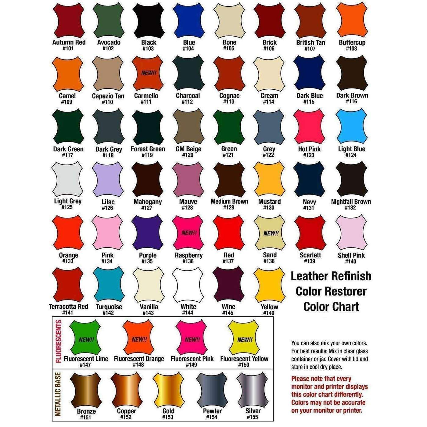 Leather Refinish Color Chart