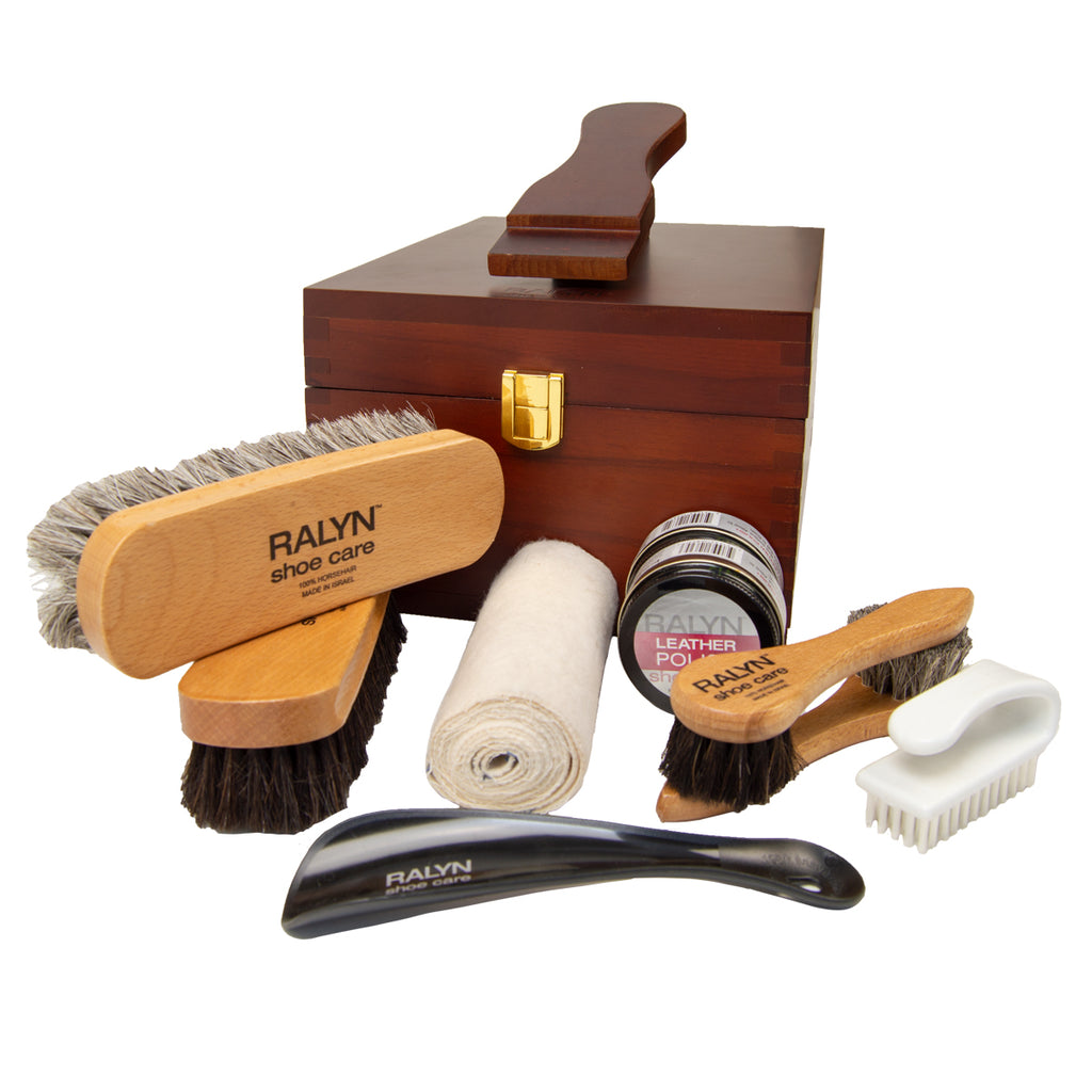 Executive Valet Shine Kit with cloth, cream, and Shine Brushes
