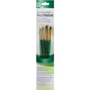 PRINCETON REAL VALUE BRUSH SET CAMEL ROUND 1, 3, SHADER 4, 6- 9110