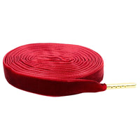 "Premium Velvet 5/16"" Sneaker Laces with Gold Tips in Black,White, Red"