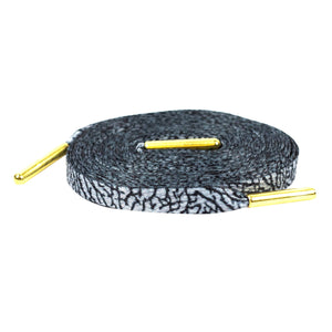 Premium Elephant Grey Cement Flat Sneaker Laces Gold Tips Lace Envy