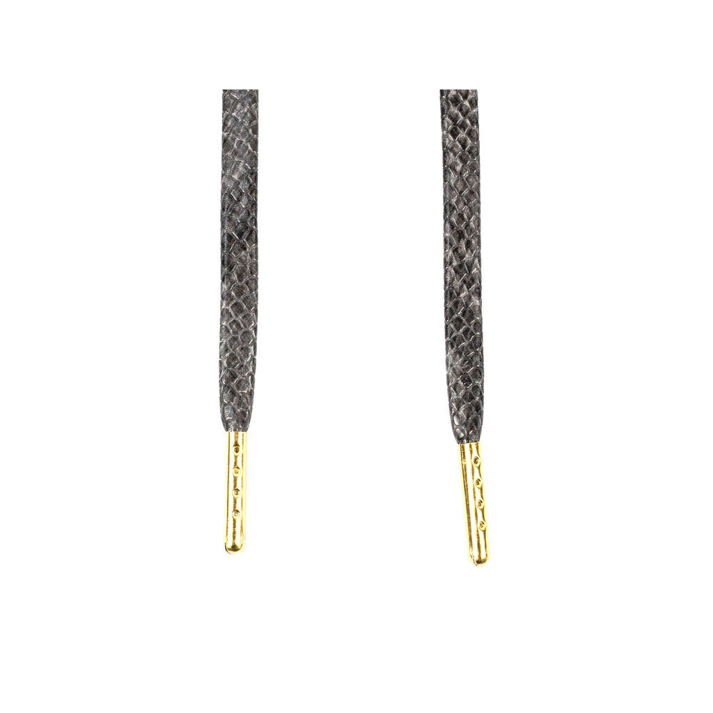 Premium Snakeskin Sneaker Laces With Gold Tips Grey
