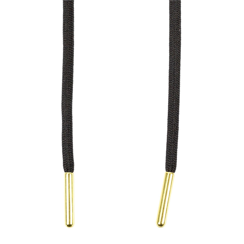 Round Rope Black laces with Gold Tips