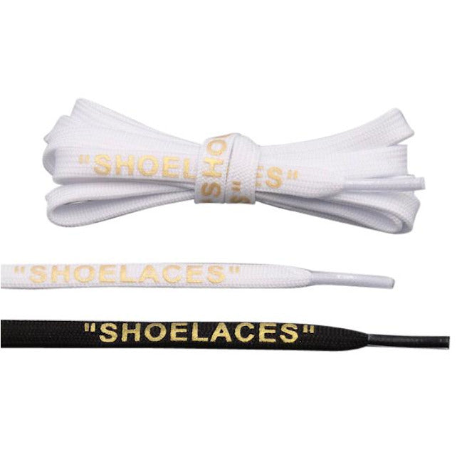 "Off White Shoe laces For Sneakers In Black, White, & Gold- ""Shoelaces"""