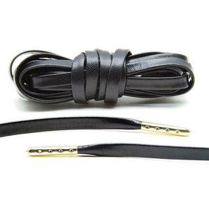 Black Leather Luxury Laces Gold Plated Shoelaces for Sneakers