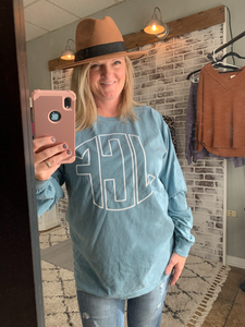 Long Sleeve Comfort Colors Outline Monogram