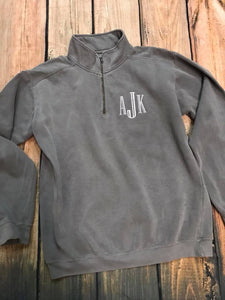 Grey  Comfort Color Quarter zip sweatshirt. Monogrammed in engravers font with white thread