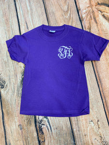 Youth Monogram Tee in Purple