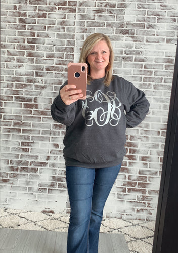 Dark Heather Crewneck with Silver Monogram